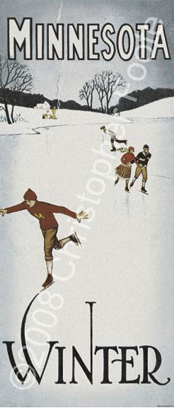 Minnesota Winter Skating Poster Art