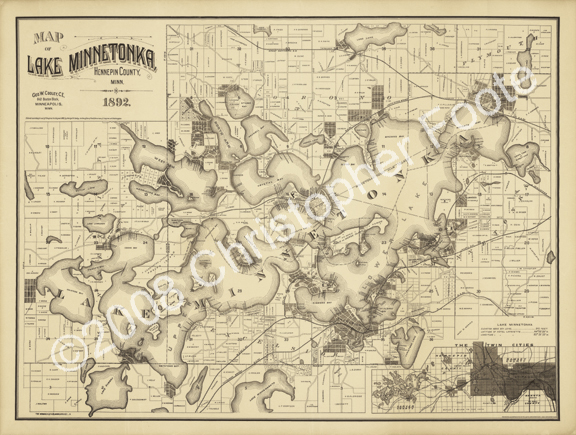 Lake Minnetonka Illustrated Map Poster Art