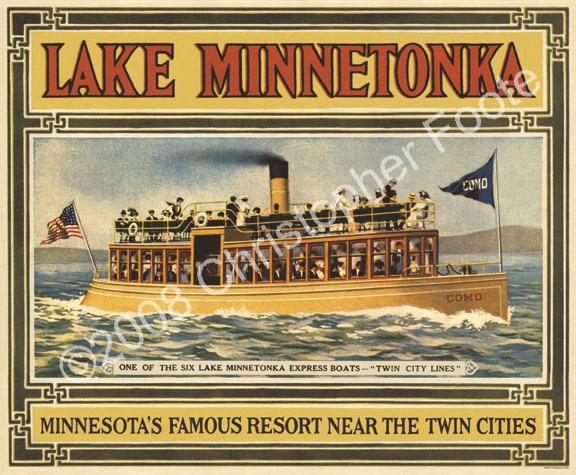 Lake Minnetonka, Minnesota, Steam Boat Poster Art