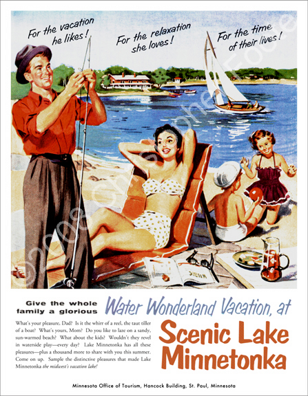 Lake Minnetonka, Minnesota, Vacation Poster Art
