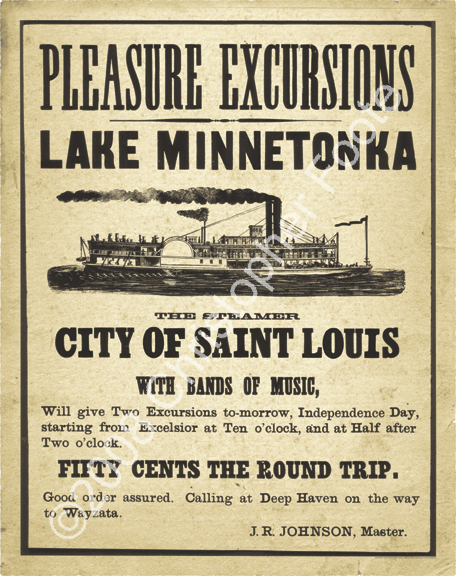 Lake Minnetonka, Minnesota, Steamboat Poster Art